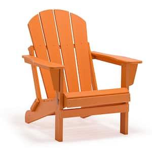 Addison Orange Folding Plastic Outdoor Adirondack Chair