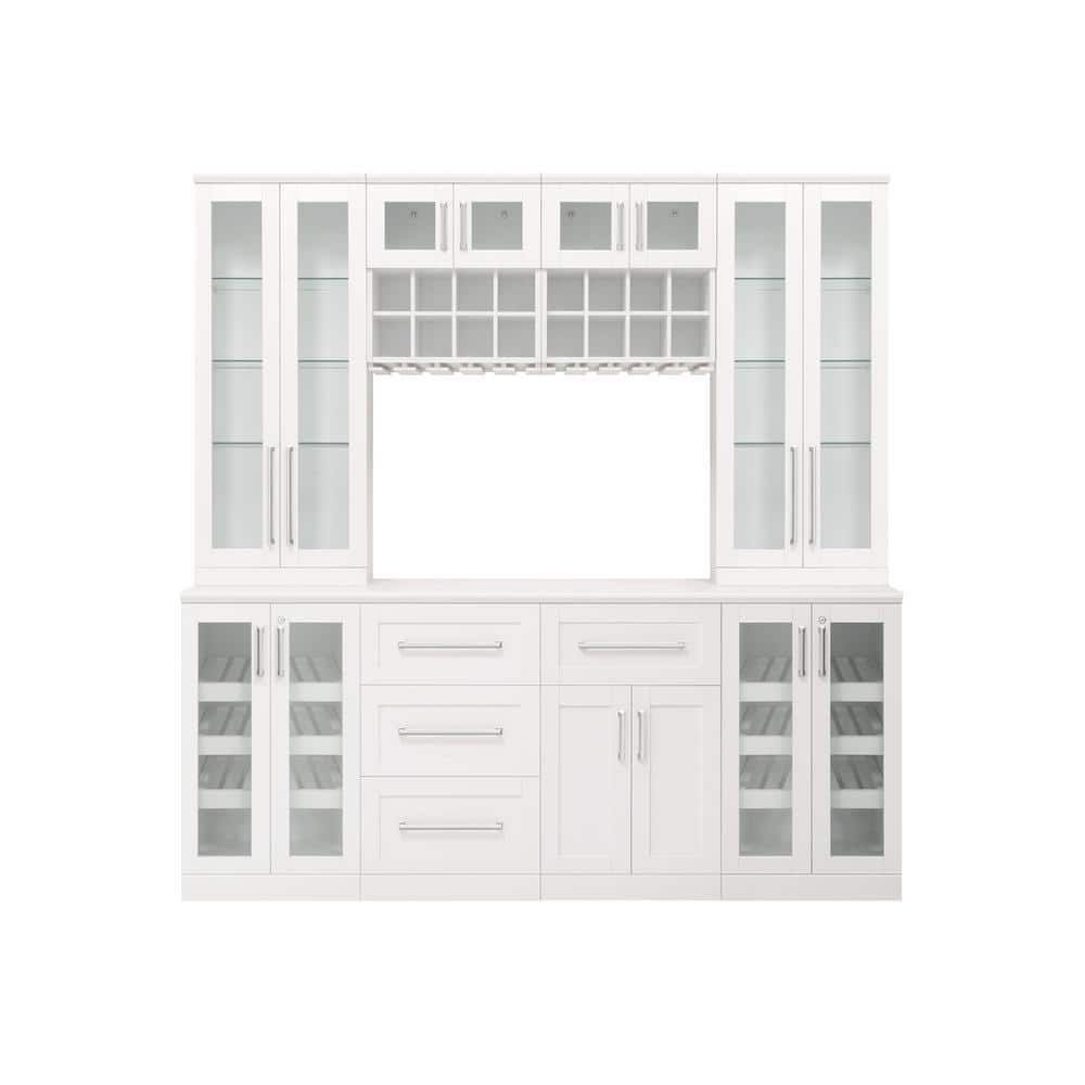 Newage Products Home Bar 21 In White Cabinet Set 9 Piece 61576 The Home Depot