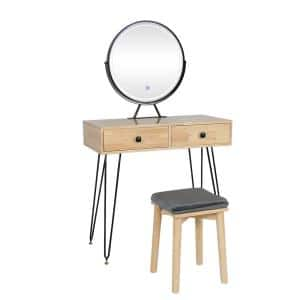 Wrought Iron Round Wood Color Touch Sensor Lamp Mirror Dressing Table (bracket type)
