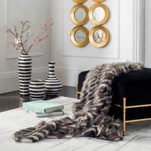 Faux Pheasant 50 in. x 60 in. Black/Gray Throw Blanket