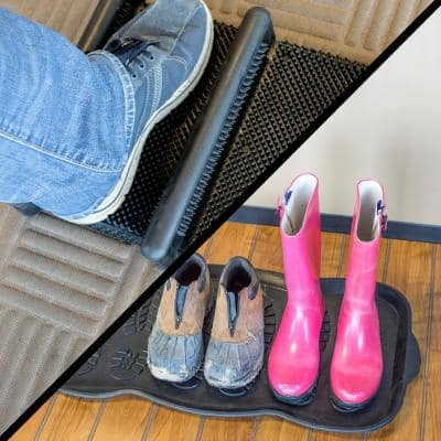 15 in. x 12.5 in. Heavy-Duty Rubber Boot Scrub Brush Mat and 32 in. x 16 in. Rubber Boot and Shoe Mat