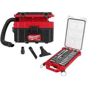 M18 FUEL PACKOUT 18-Volt Lithium-Ion Cordless 2.5 Gal. Wet/Dry Vacuum with 3/8 in. Metric Mechanics Set (32-Piece)