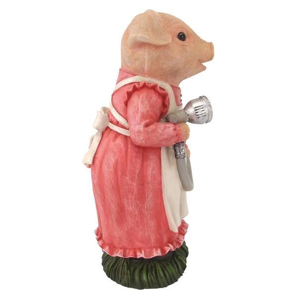 Design Toscano 11 5 In H Mama Pig Gardener Statue Qm2733800 The Home Depot