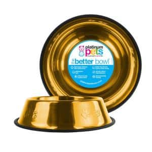 Embossed Non-Tip Stainless Steel Cat/Dog Bowl, 24 Karat Gold