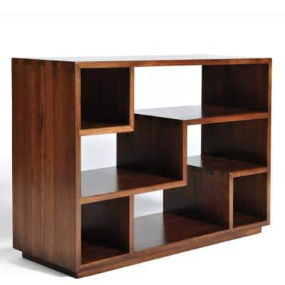Tao 33 in. Classic Walnut Wood 4-Shelf Decorative Etagere Bookcase