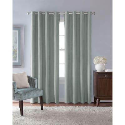 Mist Faux Suede Grommet Room Darkening Curtain - 54 in. W x 63 in. L
