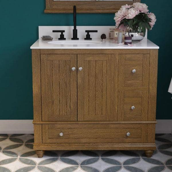 Dorel Living Tehila 36 In Natural Rustic Bathroom Vanity With White Composite Granite Vanity Top Ceramic Oval Sink And Backsplash De22524 The Home Depot