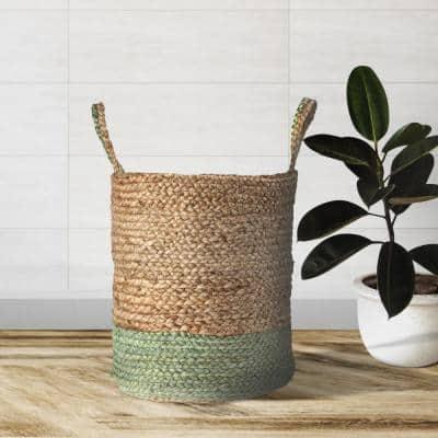 Wise Braided Natural Jute Green Decorative Basket with Handles