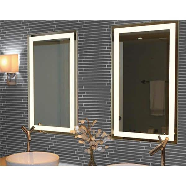 20 In W X 36 H Frameless, Home Depot Bathroom Mirror With Lights
