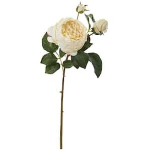 22 in. Rose Artificial Flower in Cream (Set of 6)