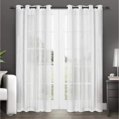 Winter White Solid Grommet Sheer Curtain - 50 in. W x 96 in. L (Set of 2)