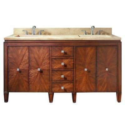 Brentwood 61 in. W x 22 in. D Bath Vanity in New Walnut with Marble Vanity Top in Crema Marfil with White Basins