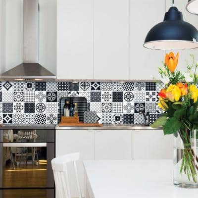 Black And White Tile Backsplashes The Home Depot