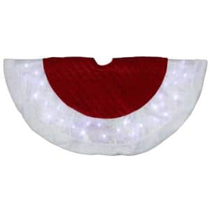 48 in. LED Red Quilted Velvet Iridescent Christmas Tree Skirt with Faux Fur Trim