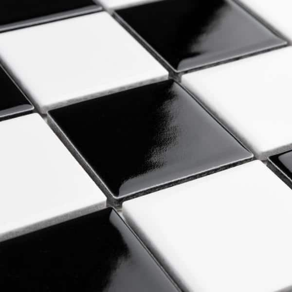 Merola Tile Metro Quad Checkerboard Glossy Black White 11 3 4 In X 11 3 4 In Mosaic Porcelain Floor Wall Tile 9 79 Sq Ft Case Ftcm2qcgbw The Home Depot