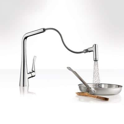 Metris Prep Single-Handle Pull-Out Sprayer Kitchen Faucet in Chrome