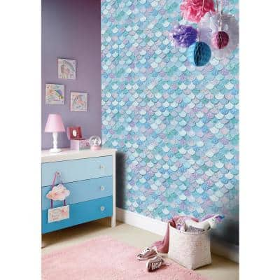 Mermazing Scales Paper Non-Pasted Wallpaper Roll (Covers 57 Sq. Ft.)