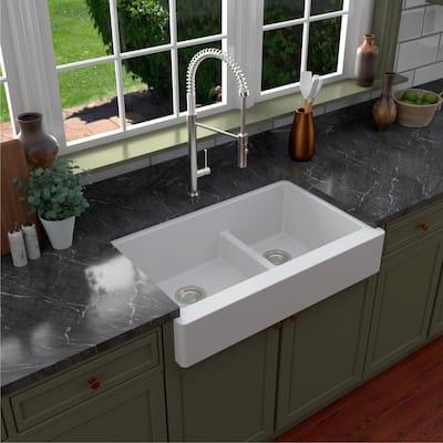 Retrofit Farmhouse/Apron-Front Quartz Composite 34 in. Double Offset Bowl Kitchen Sink in White