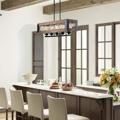 Nashville 5-light Black Farmhouse Wood Transitional Box Dining Room Chandelier with Clear Glass Shades and Natural Ropes