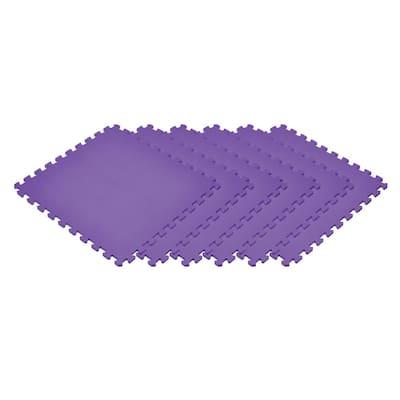 Purple 24 in. x 24 in. EVA Foam Non-Toxic Solid Color Interlocking Tiles (96 sq. ft. - 24 tiles)