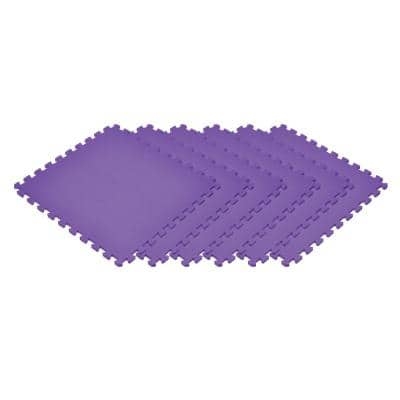 Purple 24 in. x 24 in. EVA Foam Non-Toxic Solid Color Interlocking Tile (30 Tiles)