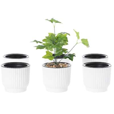 Plastic White Flower Pot Self Watering Planter (6-Pack)