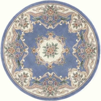 New Aubusson Light Blue 6 ft. Round Wool Area Rug