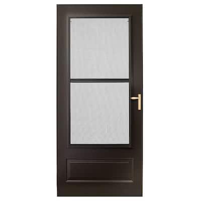 36 in. x 80 in. 300 Series Bronze Universal Triple-Track Aluminum Storm Door with Brass Hardware