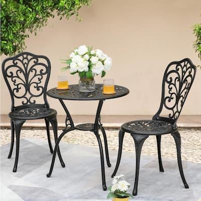 3-Piece Cast Aluminum Patio Bistro Set Rust-proof Outdoor Furniture Set