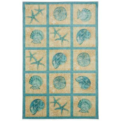 Laguna Shells Seaside 5 ft. x 8 ft. Patchwork Area Rug