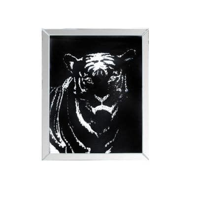 31.69 in. H x 1.77 in. W Black and Silver Rectangular Mirror framed Tiger Wall Decor with Crystal Inlays