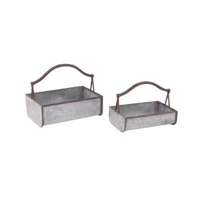 Silver Iron Planters with Handles (Set of 2)