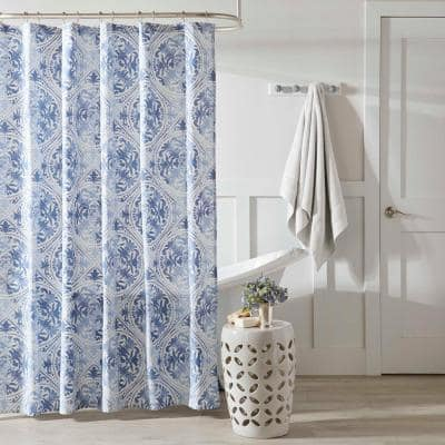 Mila Blue Cotton 72in. X 72in. Shower Curtain