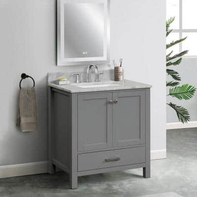 30 in. W x 22. in D. x 37 in. H Solid Wood Side Cabinet Bathroom Vanity in Gray with White Carrara Marble Top