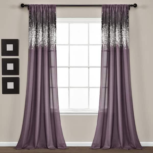 Purple Black Solid Rod Pocket Room