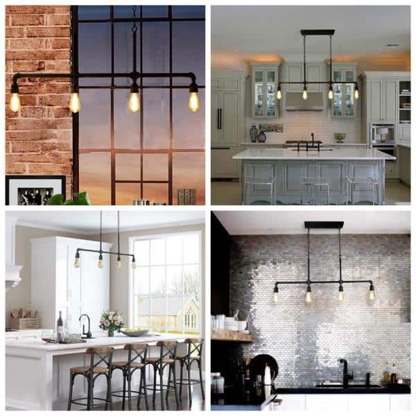 Lnc Punk Industrial 4 Light Black Iron Kitchen Island Linear Pendant With Easy Maintenance Exposed Design A03357 The Home Depot