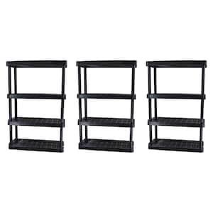 Extra Wide Light Duty Garage Storage Shelves, Black (3-Pack)