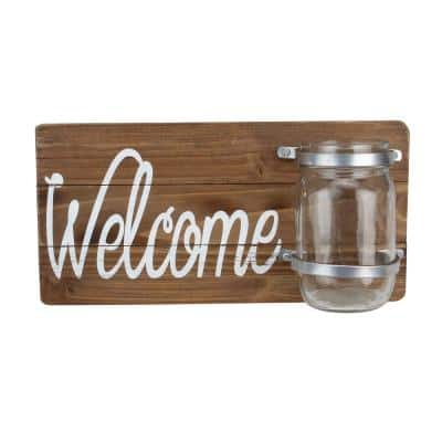 12 in. White and Brown Wooden Hanging Welcome Sign with Mason Jar