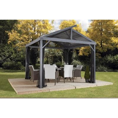 8 ft. D x 8 ft. W Sanibel II Aluminum Gazebo with Galvanized Steel Roof Panels, 2-Track System, and Mosquito Netting