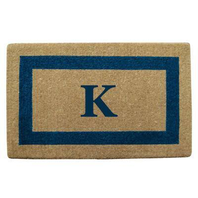 Single Picture Frame Tan/Blue 22 in. x 36 in. Heavy Duty Coir Monogrammed K Door Mat