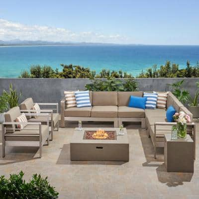 Cape Coral Silver 9-Piece Aluminum Patio Fire Pit Sectional Seating Set with Khaki Cushions