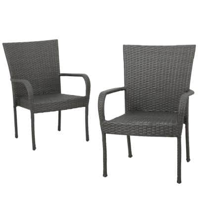 Gray Stackable Wicker Outdoor Dining Chair (Set of 2)