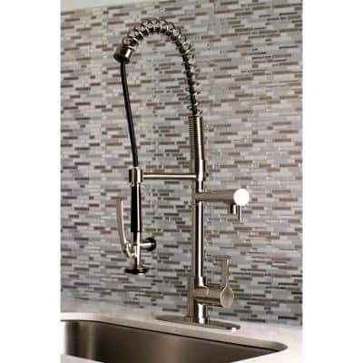 Continental Single-Handle Pre-Rinse Pull-Down Sprayer Kitchen Faucet in Brushed Nickel