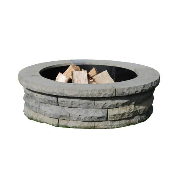 Nantucket Pavers Ledgestone 47 In Concrete Fire Pit Ring Kit Gray Variegated 72002 The Home Depot