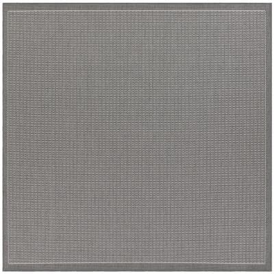 Recife Saddle Stitch Grey-White 9 ft. x 9 ft. Square Indoor/Outdoor Area Rug