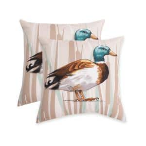Waddling Pillow Almond Biscotti Square Outdoor Throw Pillow (2-Pack)