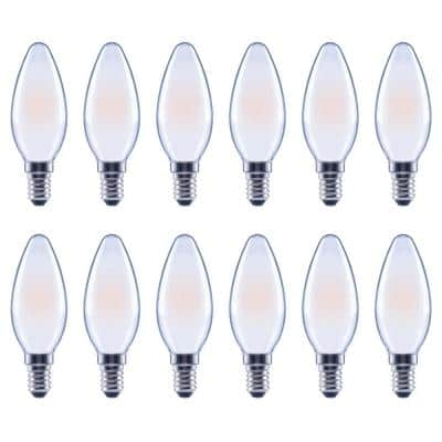 60-Watt Equivalent B11 Dimmable Frosted Glass Filament Vintage Edison LED Light Bulb Bright White (12-Pack)
