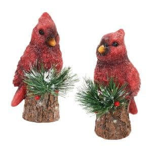 LED Cardinals with Timer Garden Statue (2-Pack)