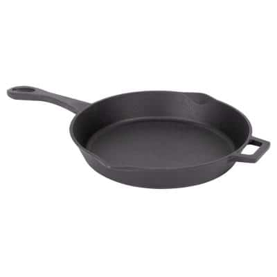 14 in. Cast Iron Skillet in Black