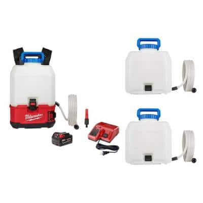 Milwaukee M18 18 Volt 4 Gal Lithium Ion Cordless Switch Tank Backpack Water Supply Kit With Battery Charger 3 Tank Assemblies 2820 21ws 49 16 28ws 49 16 28ws The Home Depot